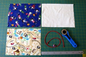 fabric pieces for pencil roll