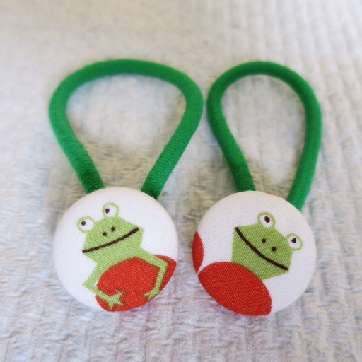 Frog button hair elastics